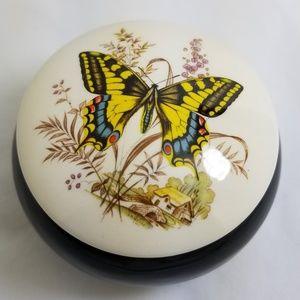 Trinket Box Ring Dish Butterfly Yellow Black White